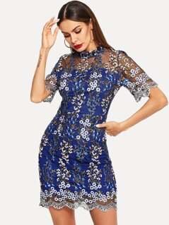 Floral Embroidery Mesh Overlay Bodycon Dress