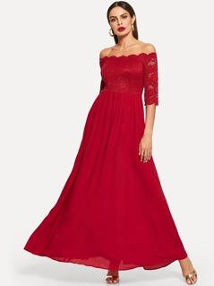 Lace Bardot Top Flowy Maxi Prom Dress