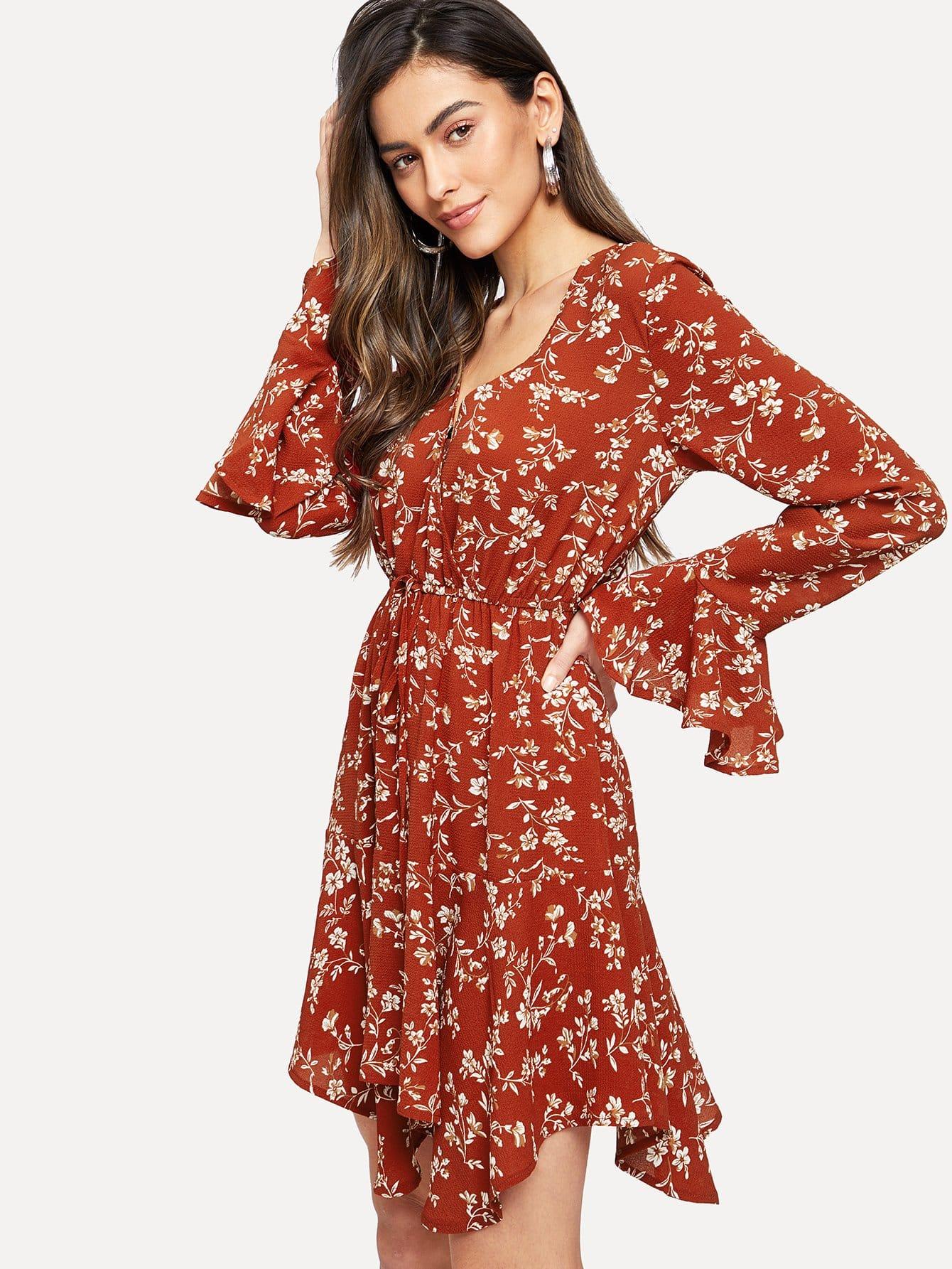 Фото - Платье с глубоким v-образным вырезом с оборками рукавами от SheIn цвет красные