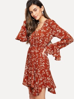 Flounce Sleeve Drawstring Waist Surplice Wrap Dress