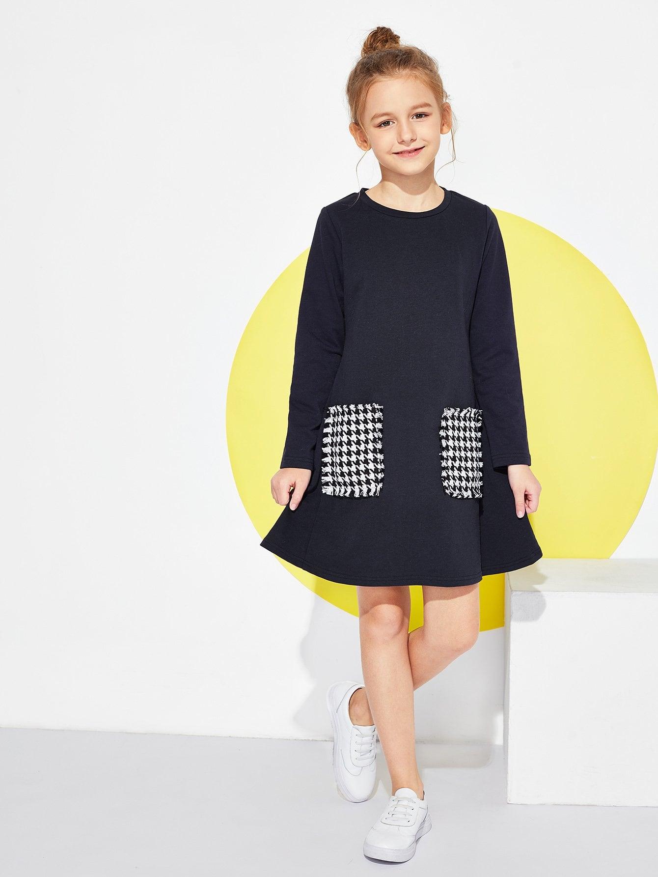Фото - Для девочек платье с длинным рукавом от SheIn цвет тёмно-синие