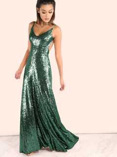 Backless Sequin Cami Maxi Prom Dress