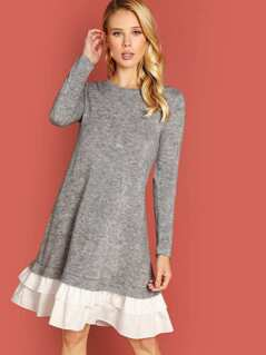 Contrast Ruffle Hem Marled Dress