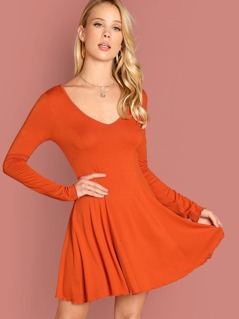 Neon Orange Plunging Neck Fit & Flare Dress