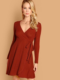 Surplice Wrap Rib-knit Dress