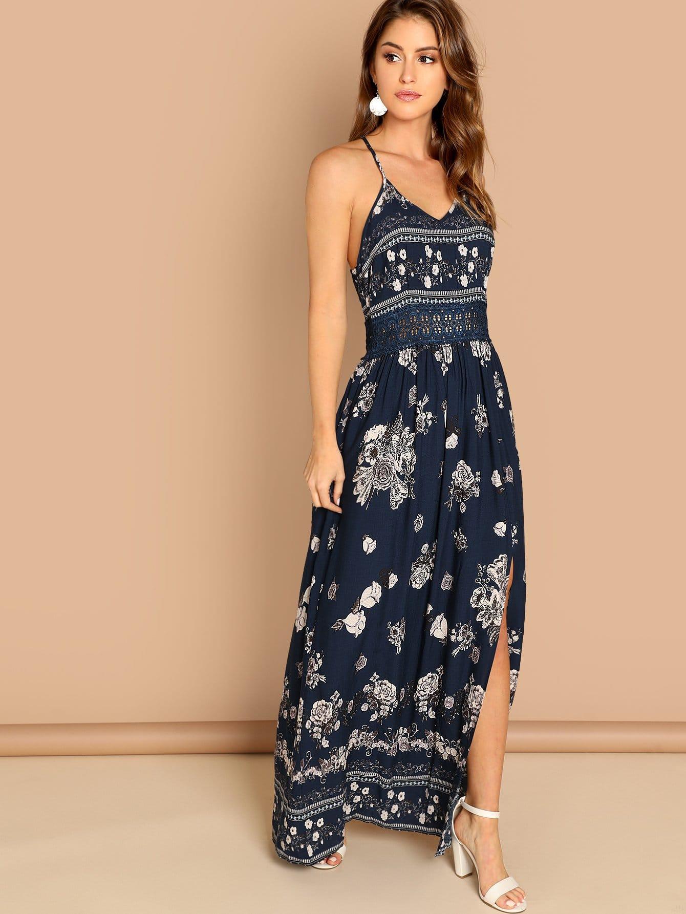 Купить Платье на бретелях со складками и кружевной талией, Gigi Paris, SheIn