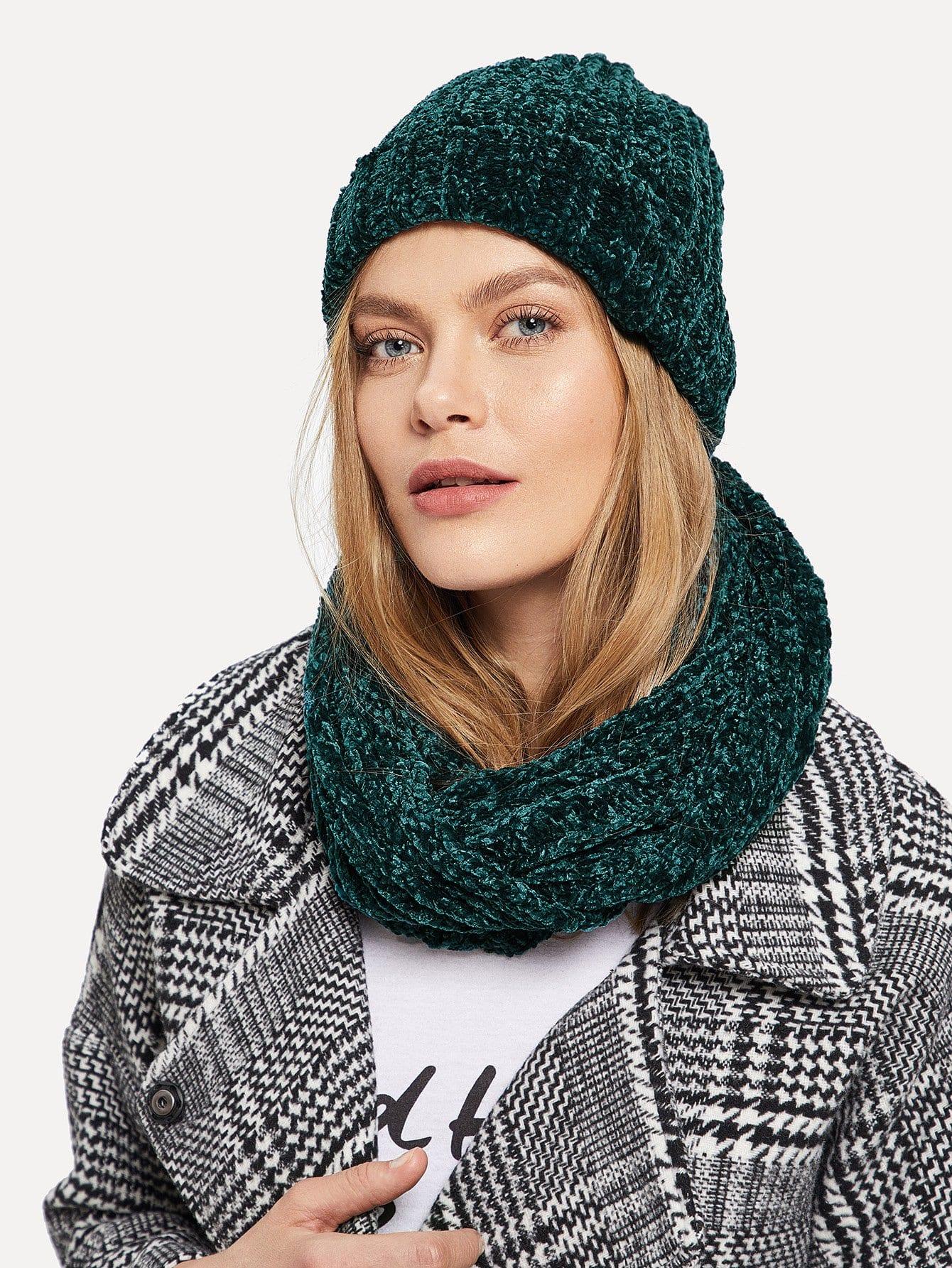 Силиевая Однотонная шляпа и шарф 2 шт, Kate C, SheIn  - купить со скидкой