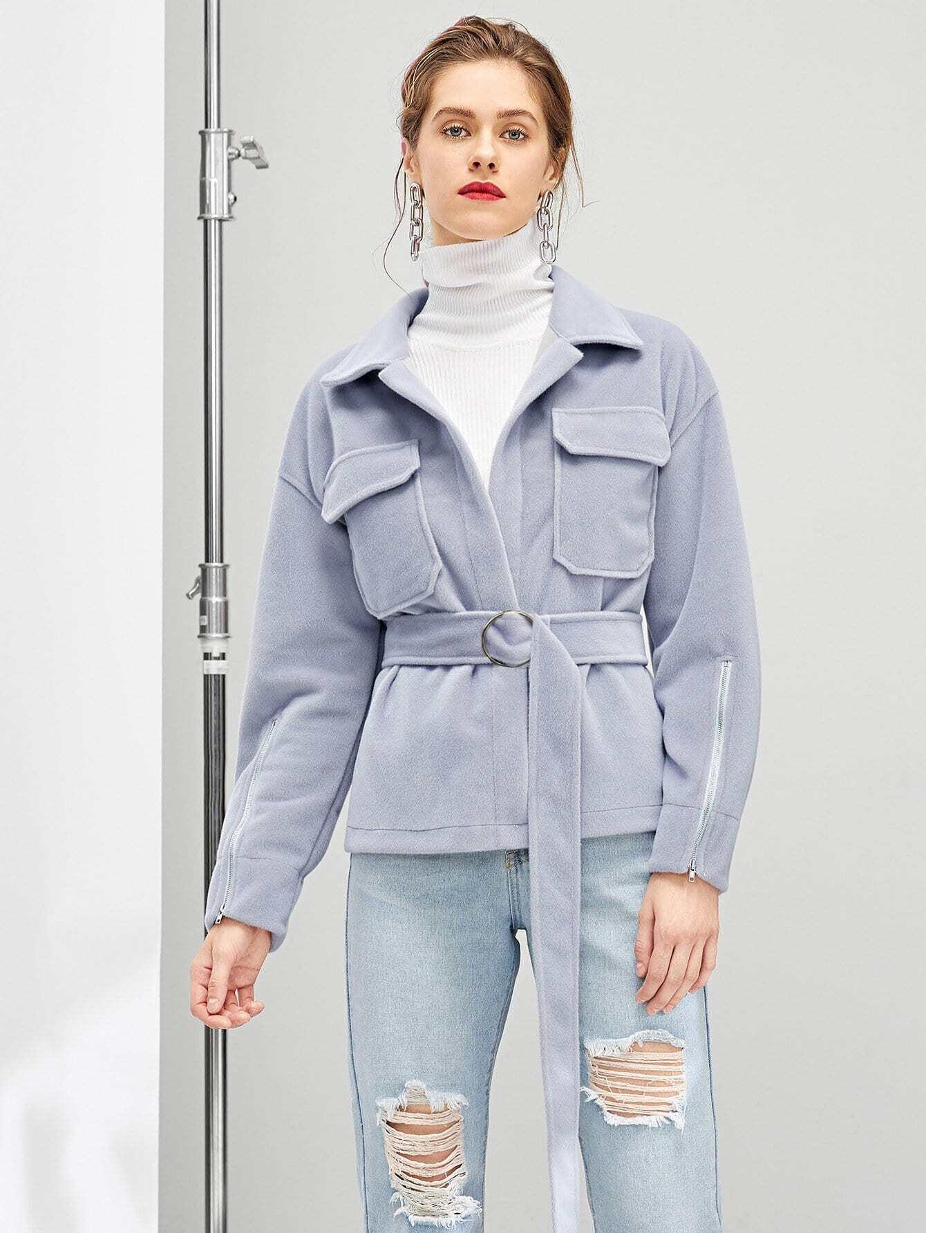 Купить Пальто с украшением пуговицы и кармана, Victoriab, SheIn