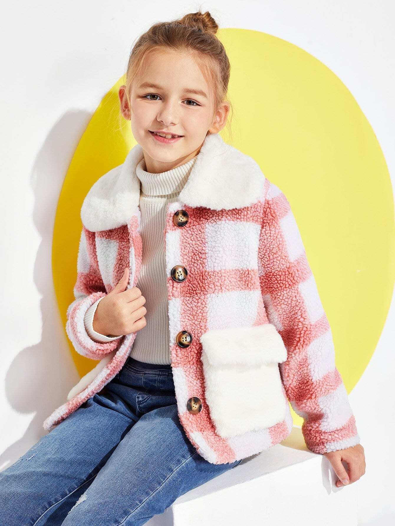Купить Для девочек Рубажное пальто на пуговицах, Sashab, SheIn
