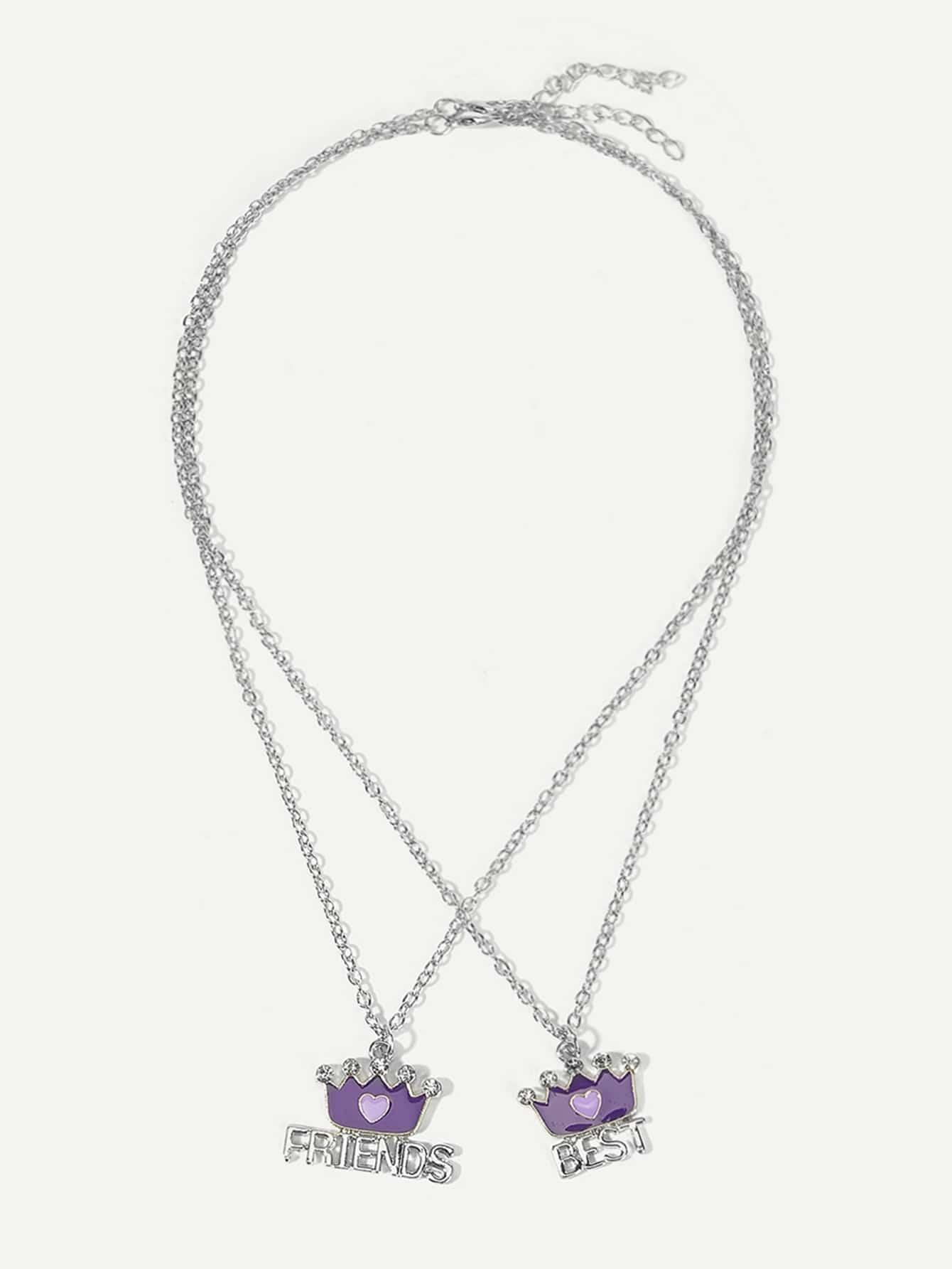 Купить Комплект ожерелья для подвески для девочек Crown 2шт., null, SheIn