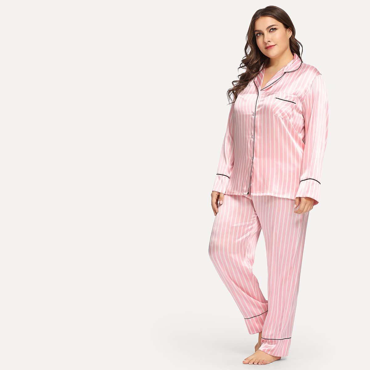 Satijn-pyjama-set met gestreepte knopen