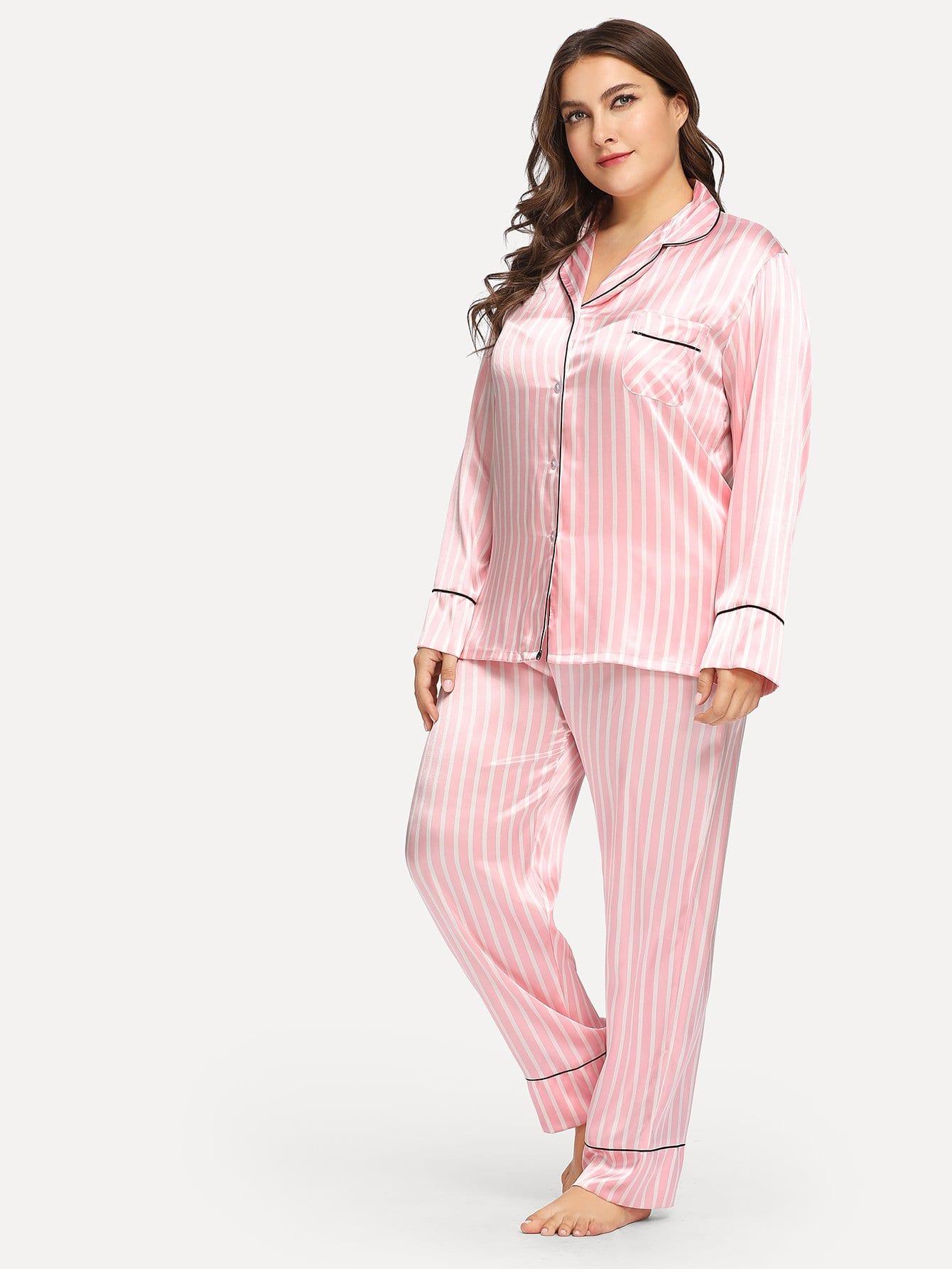 Купить Размера плюс полосатая однобортная пижама, Franziska, SheIn