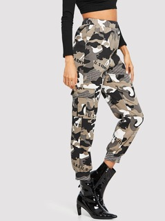 Slant Pocket Camo Print Pants