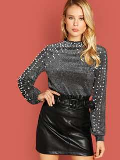 Pearl Beading Bishop Sleeve Glitter Top