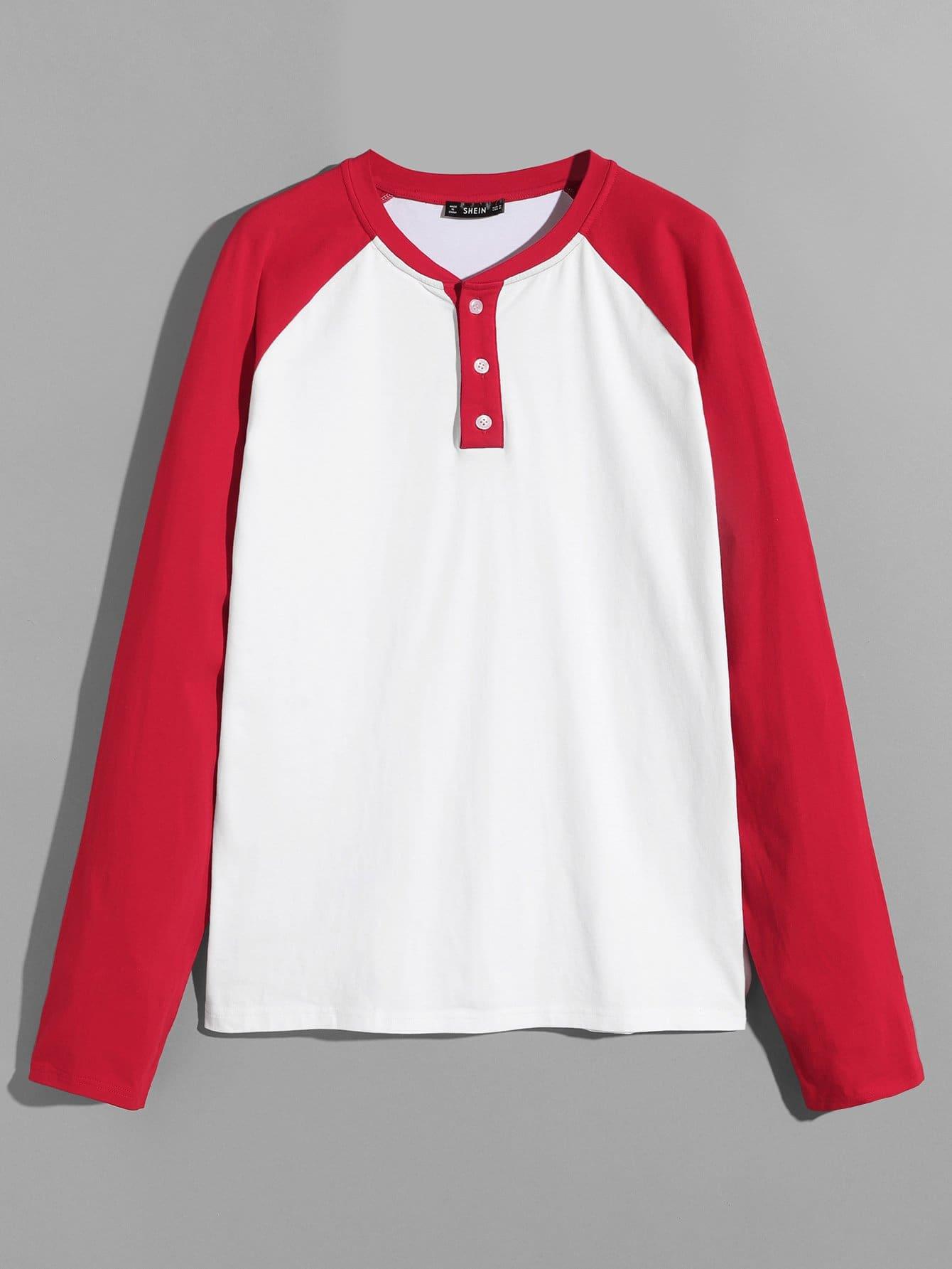 Купить Для мужчин контрастная поло-футболка с регланом-рукавом, null, SheIn