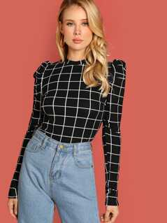 Mock-Neck Grid Crop Tee