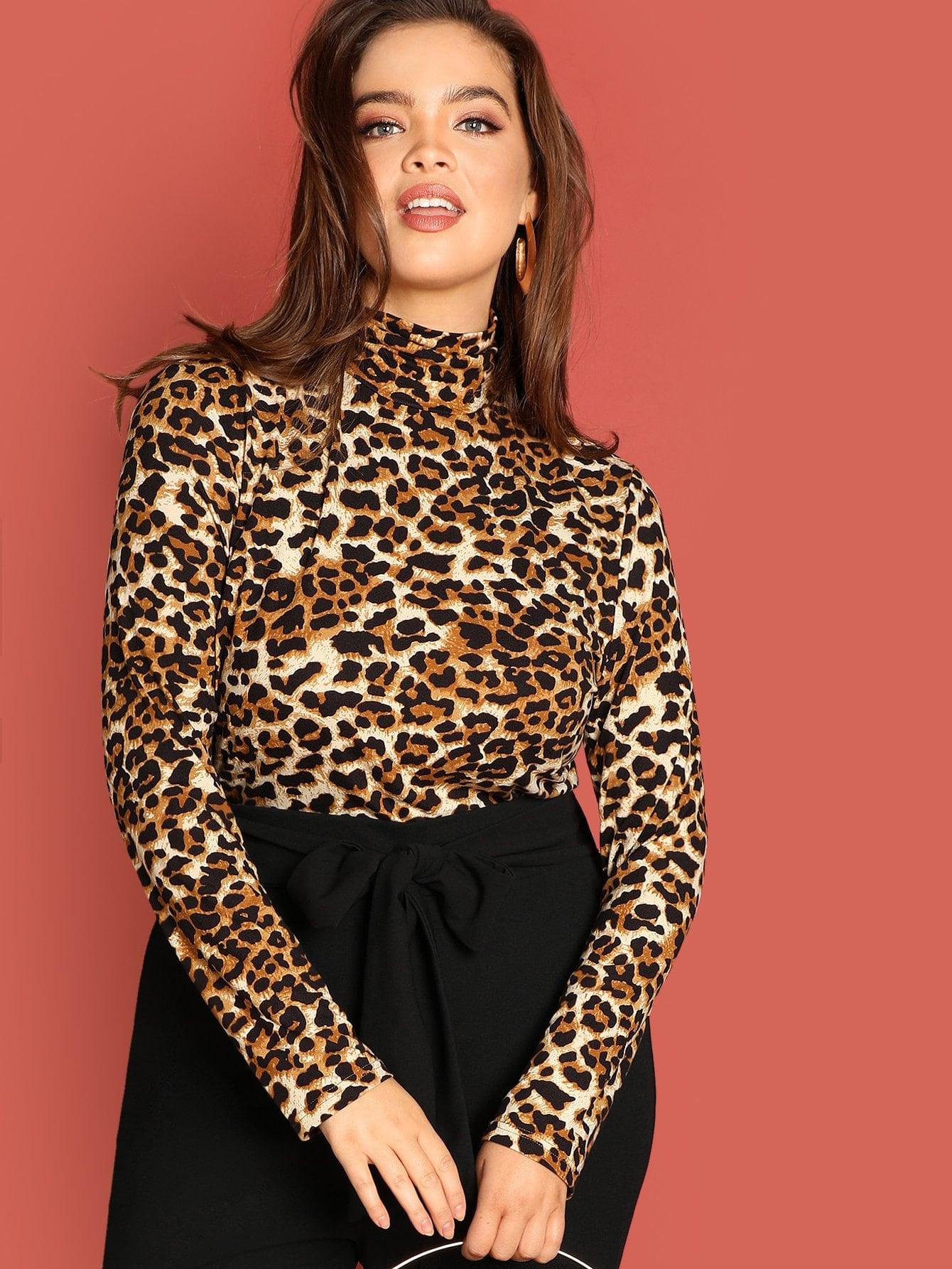 Купить Облегающая леопардовая футболка размера плюс, Faith Bowman, SheIn