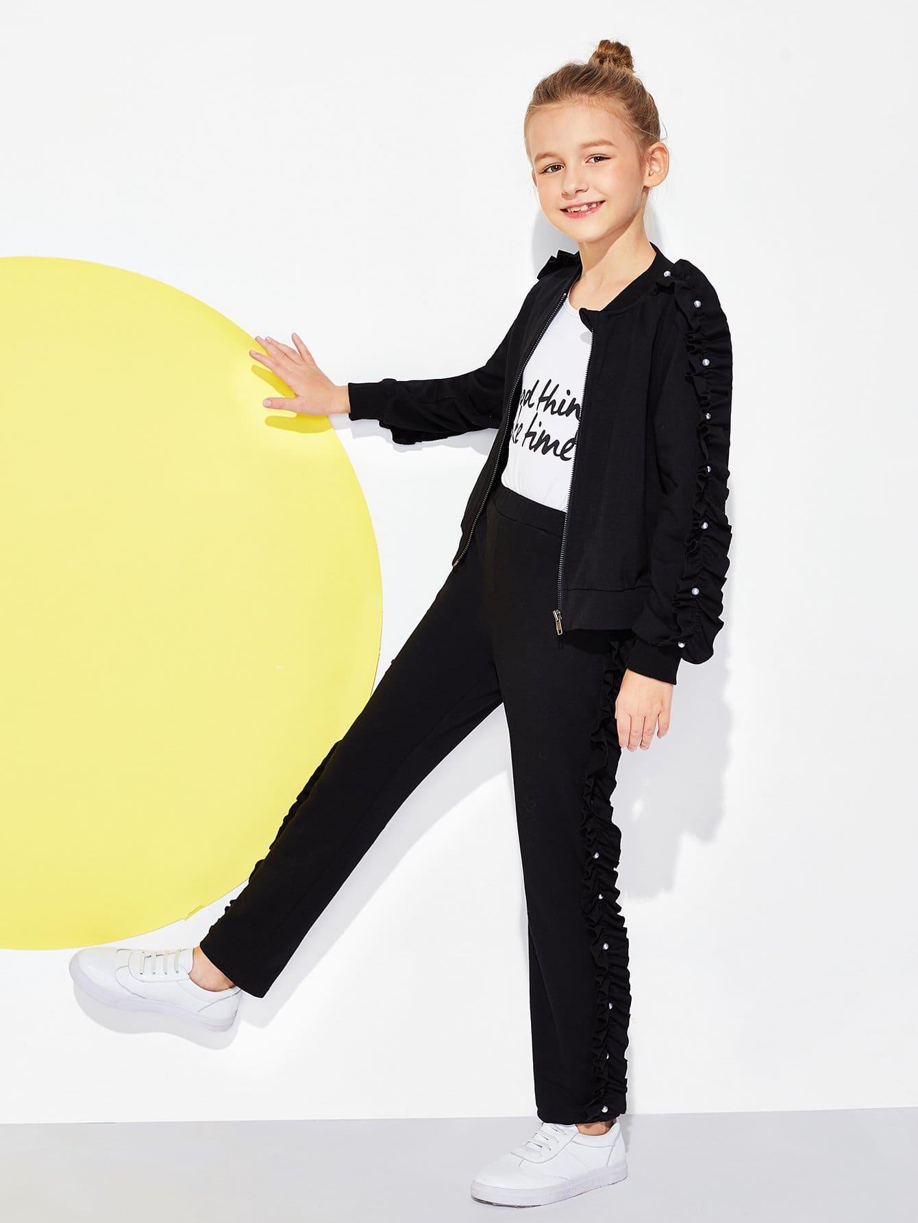 Фото - Свитшот с жемчугами и брюки комплеки для девочек от SheIn черного цвета
