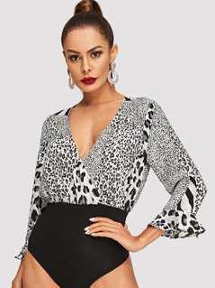 Leopard Print Bell Sleeve Bodysuit