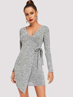 Wrap Knot Solid Dress