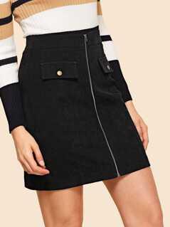 80s Wide Waistband Zipper Up Skirt