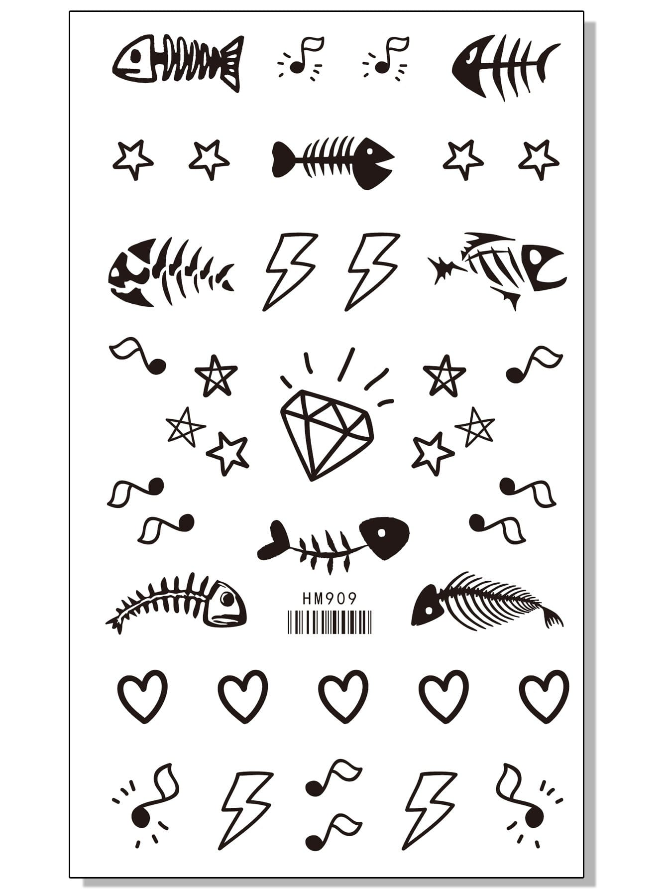 Купить Наклейки татуировки с принтом разным 1 лист, null, SheIn