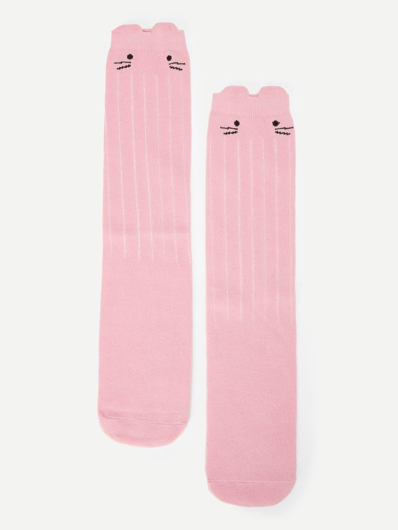 Купить 1 пара носки с принтом кота для девочек, null, SheIn
