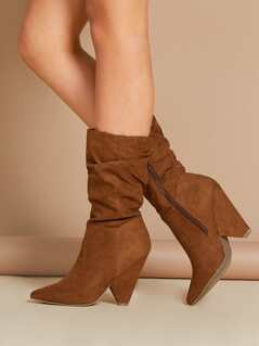 Pointy Toe Cone Heel Side Zip Ruched Boots