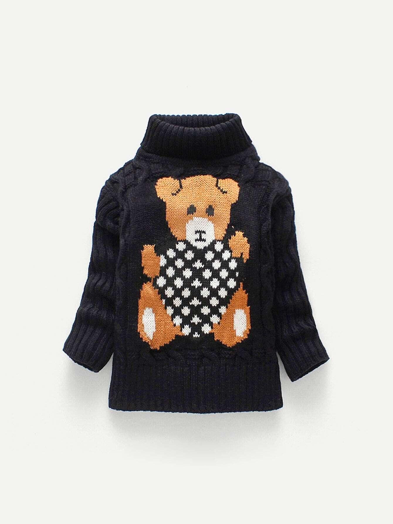 Купить Вязаный свитер с принтом медведя для маленьких мальчиков, null, SheIn