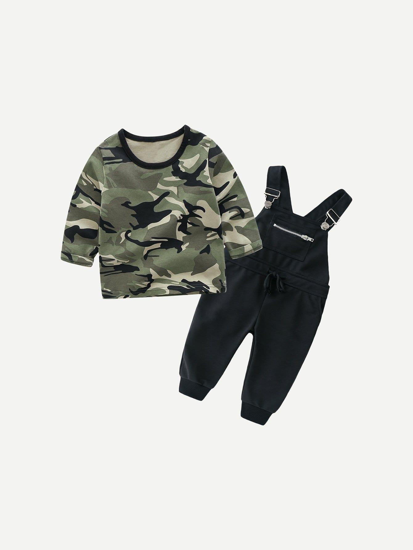 Купить Камуфлжяная блуза и комбинезон для маленьких мальчиков, null, SheIn