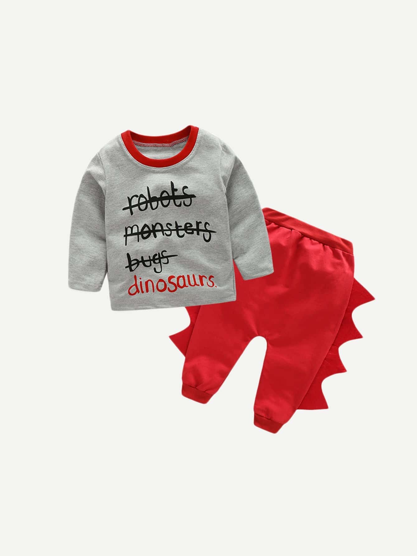 Купить Блуза с принтом текстовым и брюки с принтом динозавра для маленьких мальчиков, null, SheIn