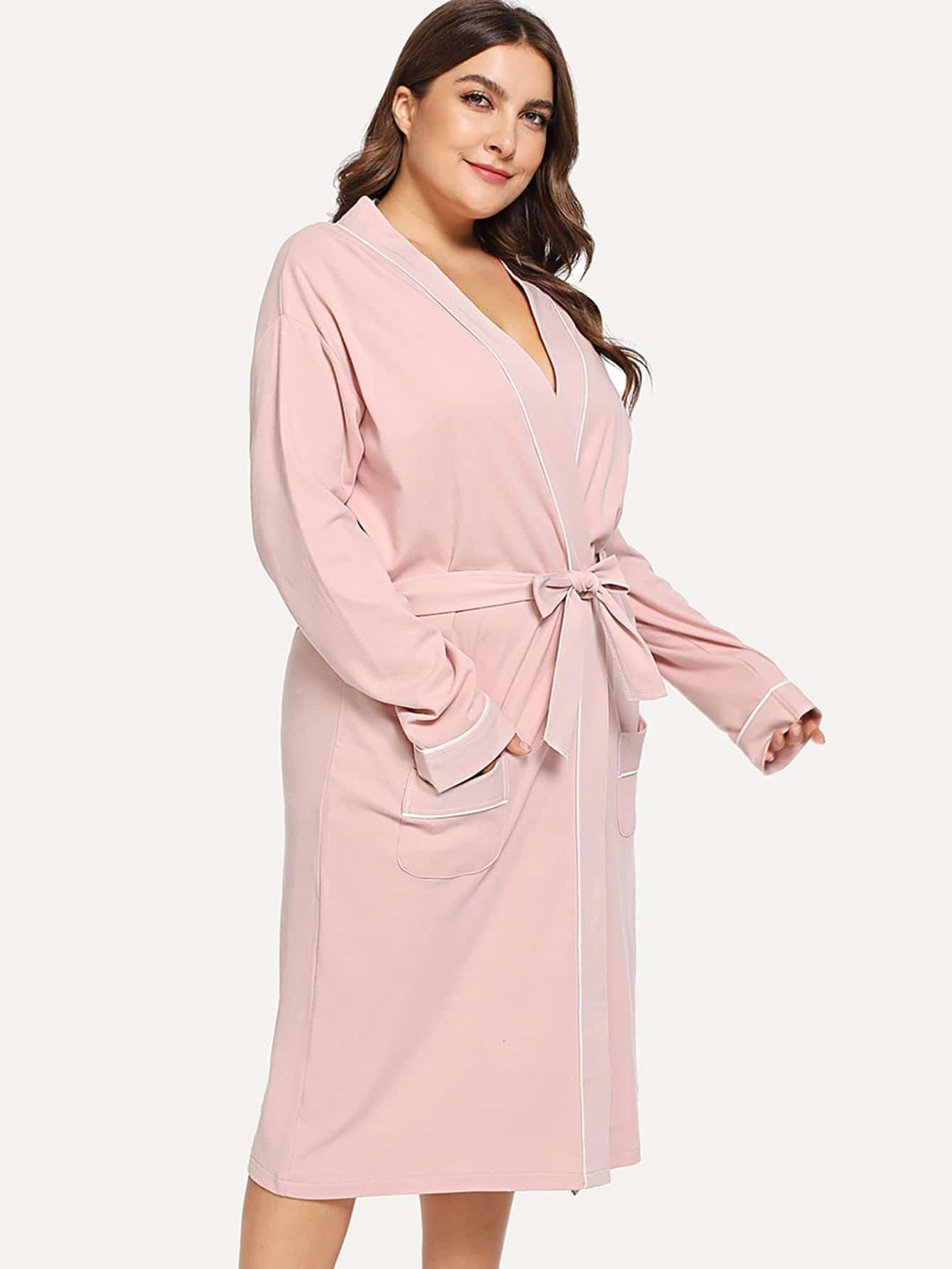 Купить Контрастный халат с поясом, Franziska, SheIn