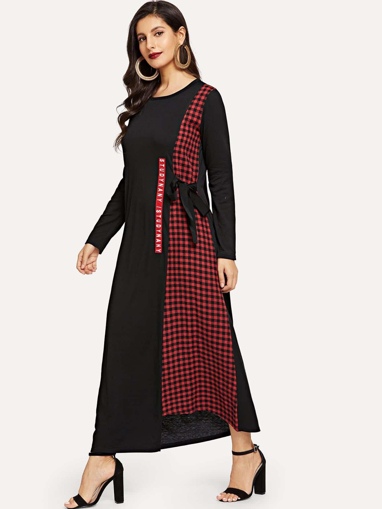 Купить Контрастное длинное платье в клетку с поясом и текстовым принтом, Jeane, SheIn