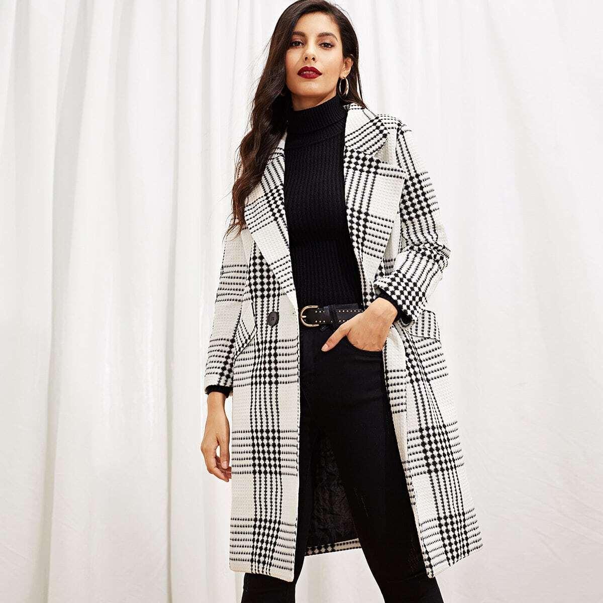Zwart & wit Elegant Gevlochten Jassen & truien Riem