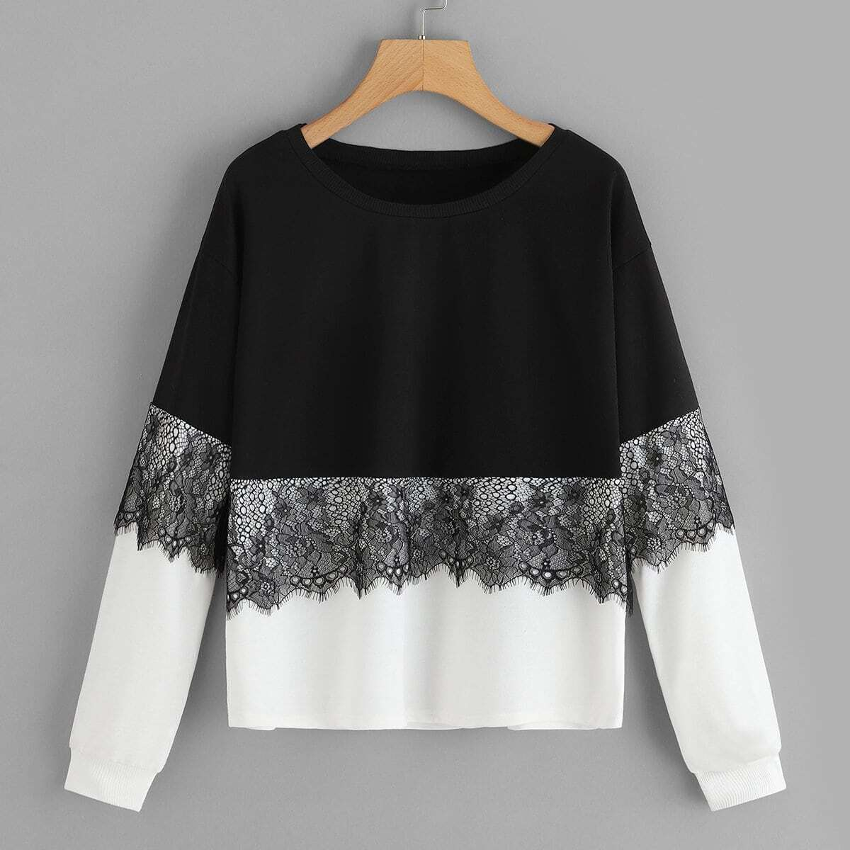 Zwart & wit Casual Sweater Contract kant