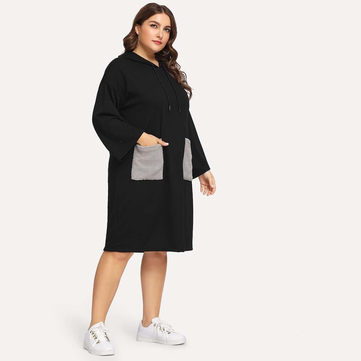 Zwart Casual Grote maten jurken Zak