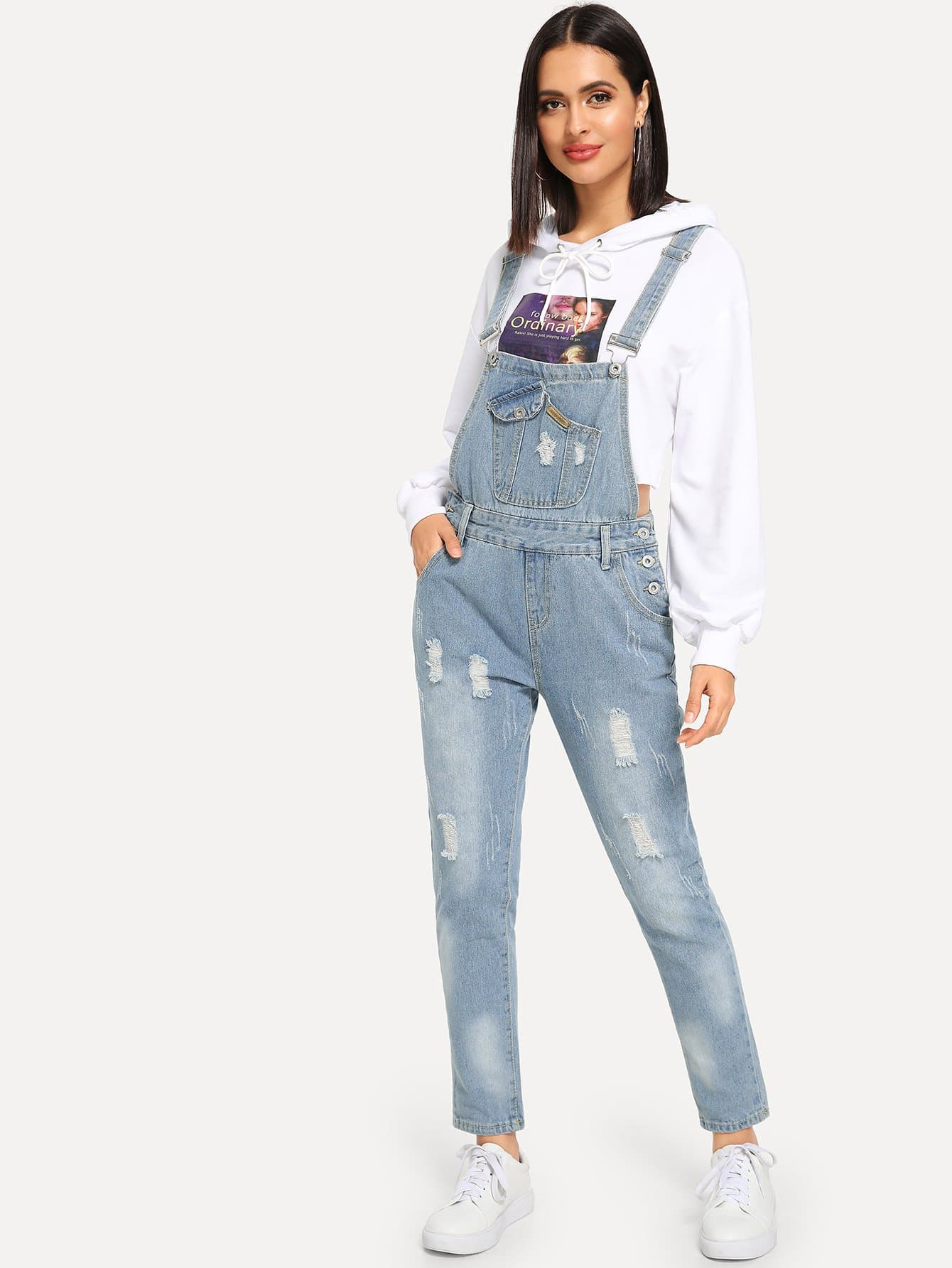 Купить Рваный джинсовый комбинезон с пуговицами, Verob, SheIn