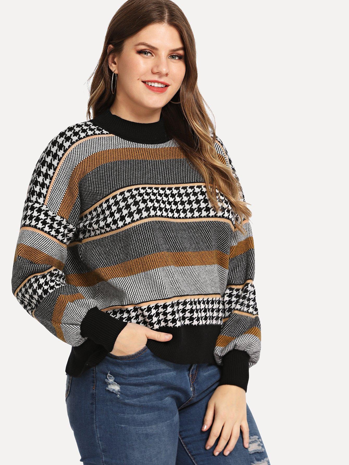 Купить Полосатый свитер с принтом размера плюс, Isabela, SheIn