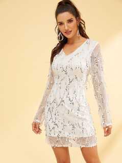 Long Sleeve V-Neck Sequins Dress