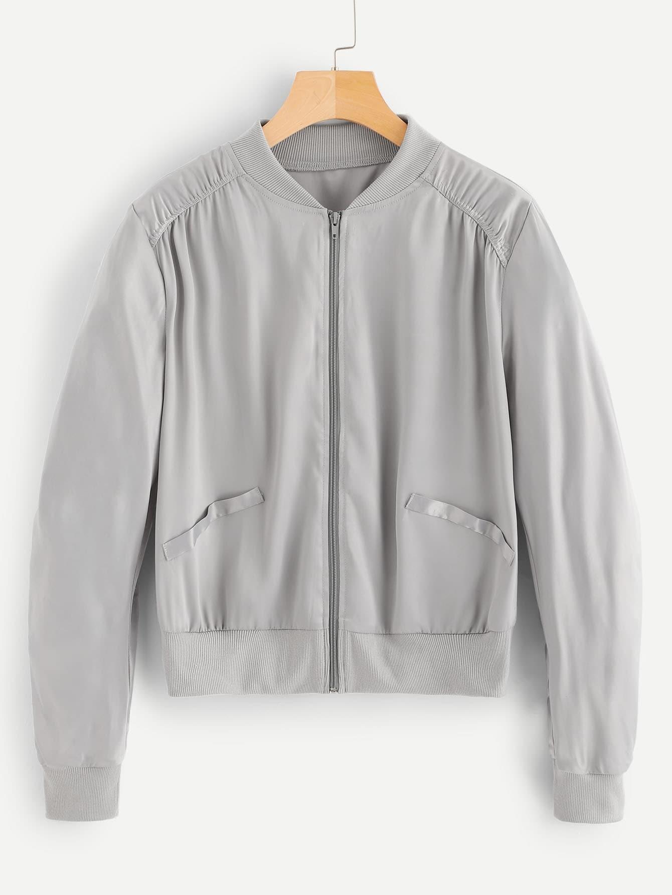 Купить Куртка на молнии с карманом с эластичным низом, null, SheIn