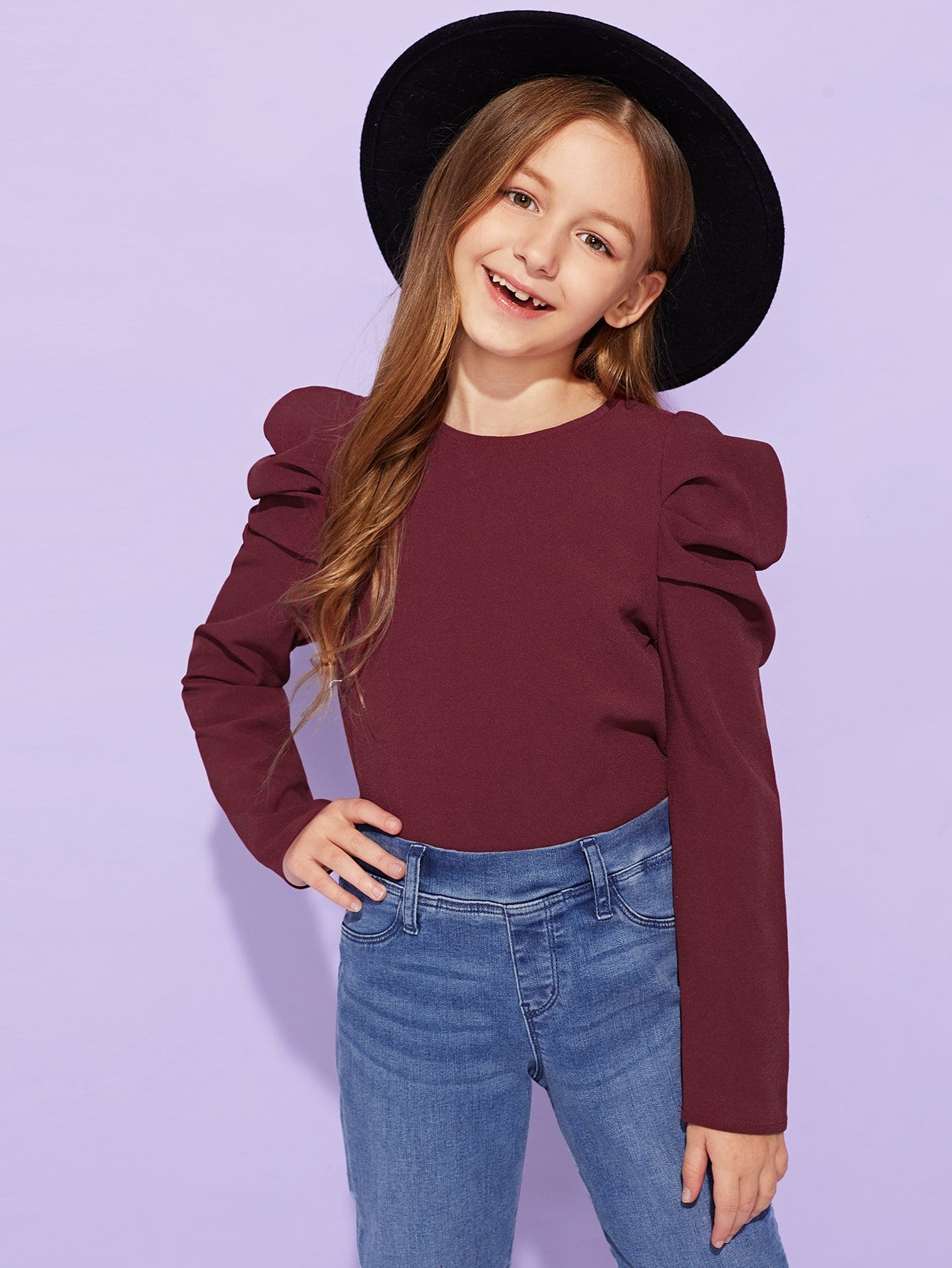 Фото - Для девочек блузка с пышными рукавами от SheIn бордового цвета