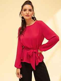 Waist Belted Solid Top