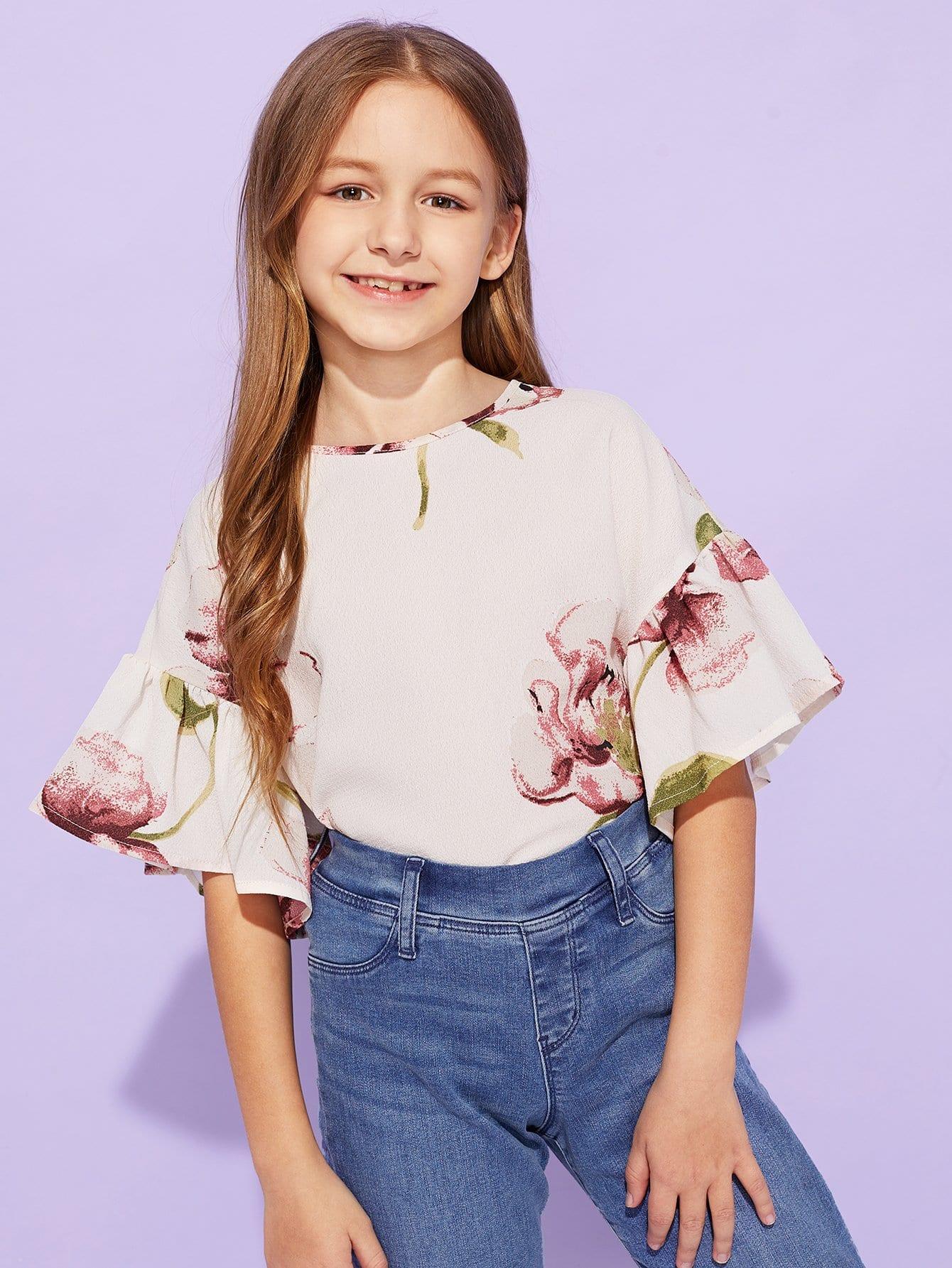 Купить Цветочный топ с оборками рукавами для девочек, Sashab, SheIn