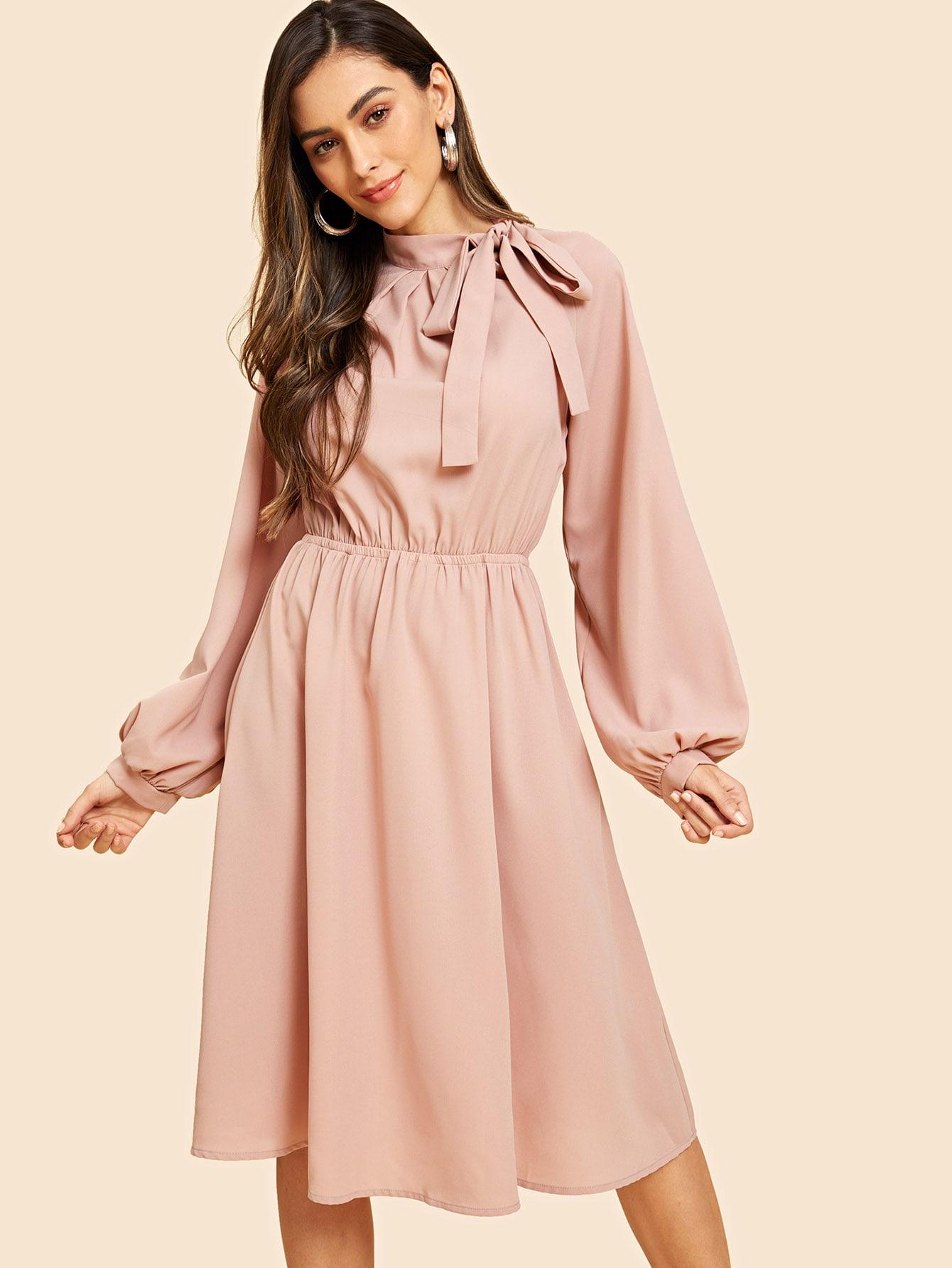 Купить Платье с завязкой на шее с рукавом-регланом, Carol A, SheIn