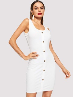 Button Front Bodycon Solid Dress