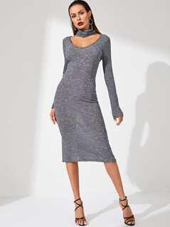 Choker Neck Rib Knit Dress