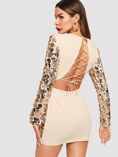 Lace Up Back Sequin Panel Bodycon Dress