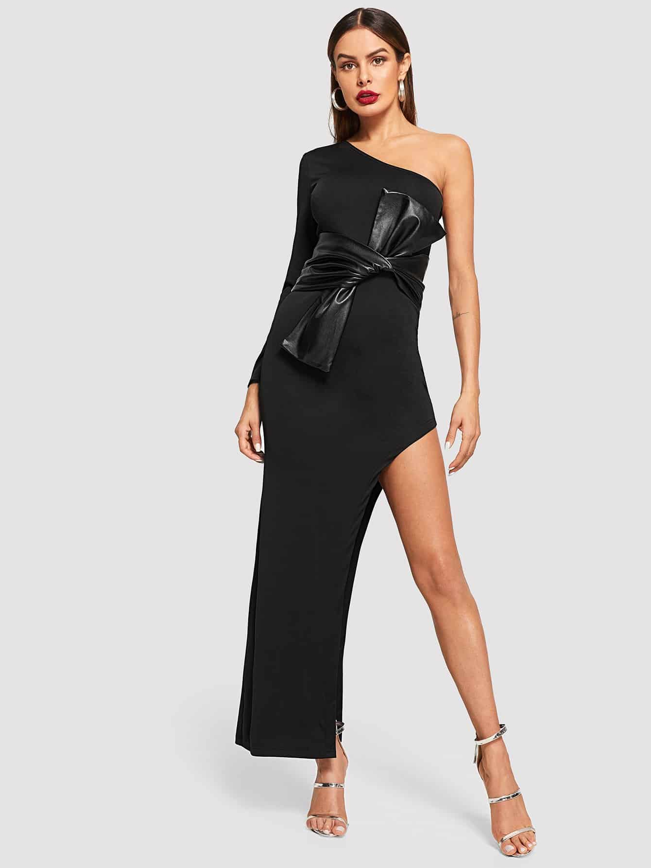 Купить Твердое платье с асимметричным плечом, Andy, SheIn