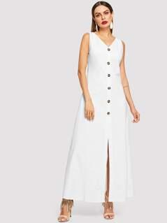 Single Breasted V-Neck Shell Dress