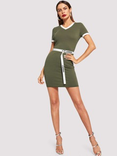 Tape Detail V-Neck Dress
